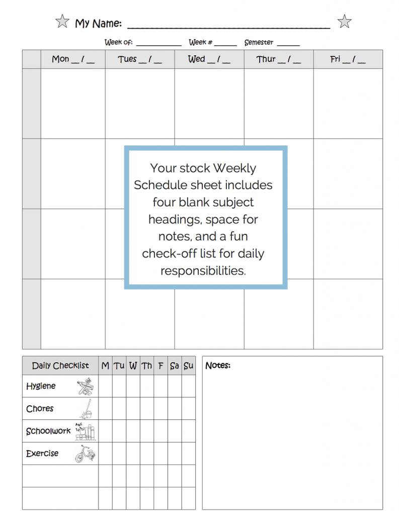 homeschool planner weekly schedule